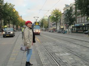 In front on the tram